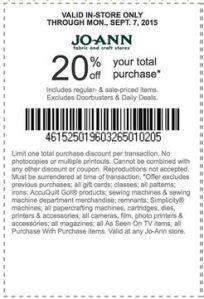 joann coupon september