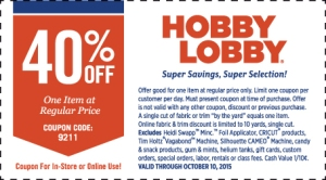 hobby lobby coupon october 2015