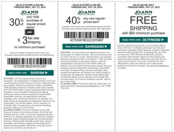 joann coupon october