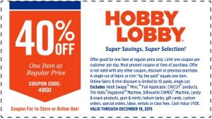 hobby lobby coupon december