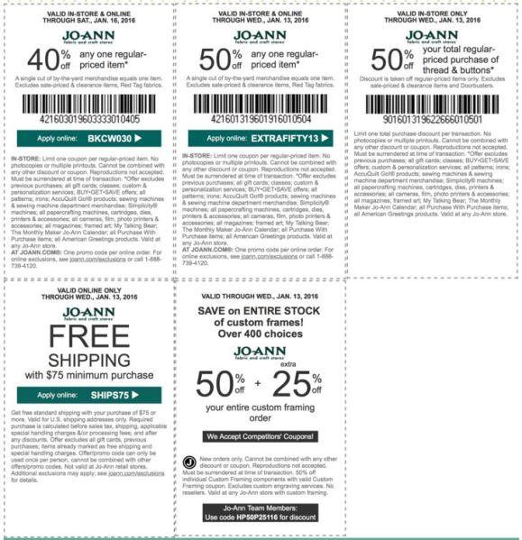 joann coupon january