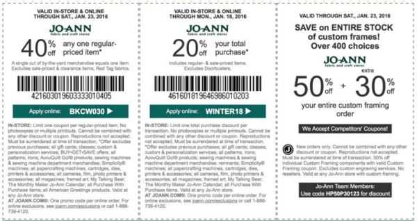 joann coupon january