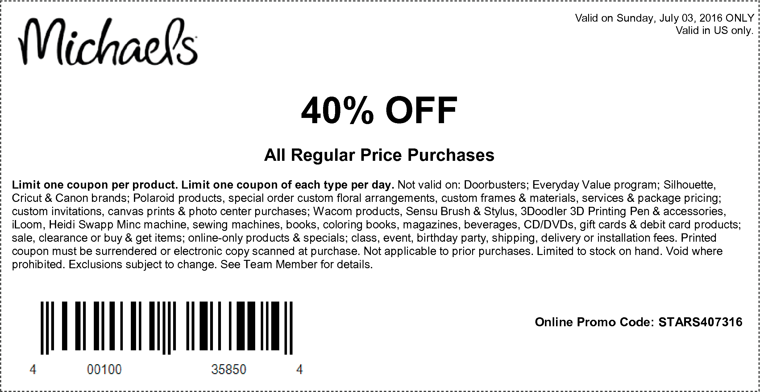 Hobby lobby coupon 40 off entire purchase - M 7 03 16 1