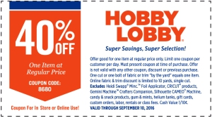 Hobby Lobby Coupon September 2016