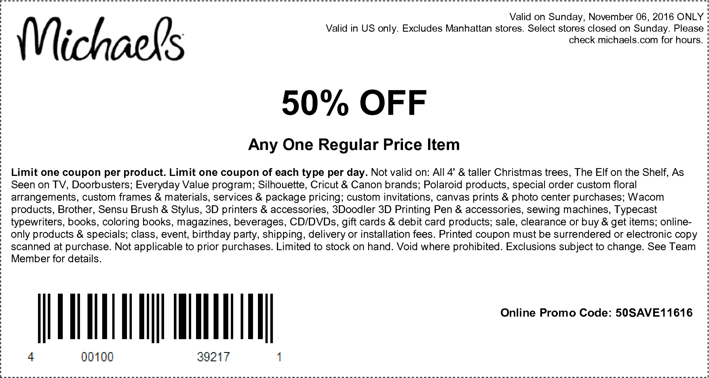 here are the coupons starting 110616 - Christmas Tree Store Coupon