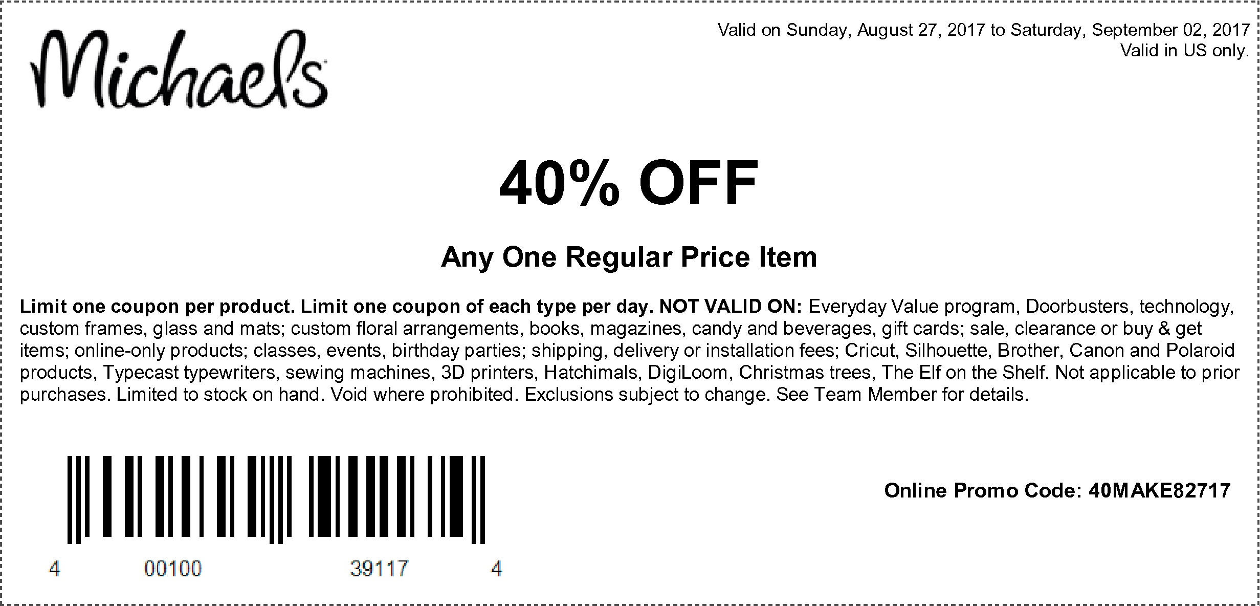 Here Are The Coupons Starting 08 27 17 Michaels